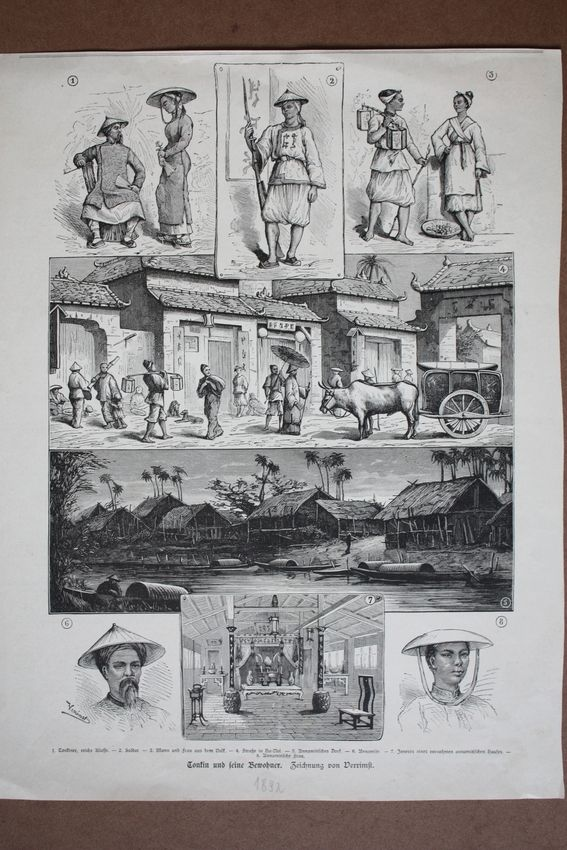 Tonkin und seine Bewohner, Vietnam, Holzstich von 1892 als Sammelblatt mit acht