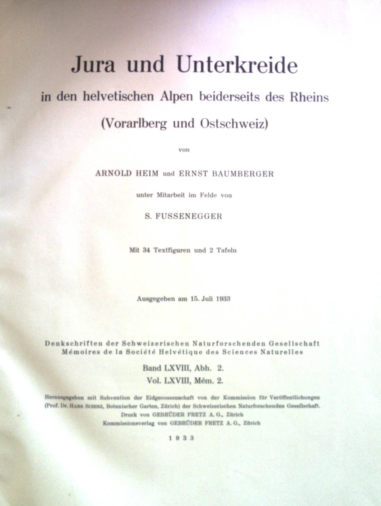 Jura und Unterkreide in den helvetischen Alpen beiderseits des Rheins