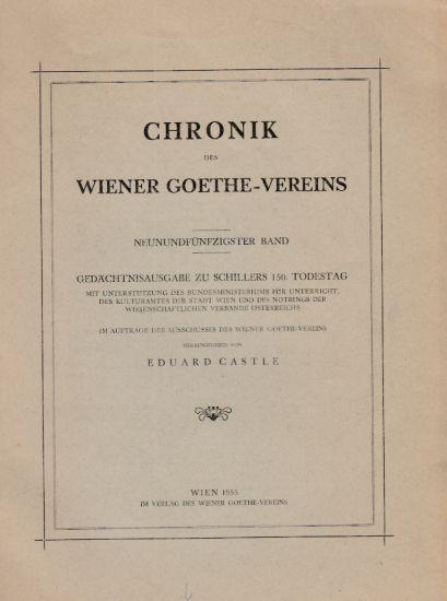 Chronik Des Wiener Goethe Vereins 59 Band Gedächtnisausgabe Zu