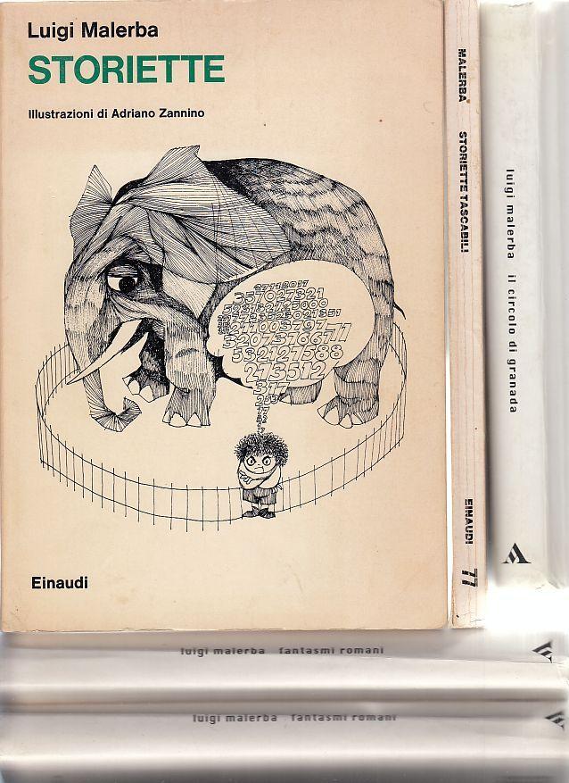 Konvolut von fünf Bänden: Storiette. Storiette tascabili. Il circolo di Granada. Fantasmi romani (zweimal). - Manganelli, Giorgio
