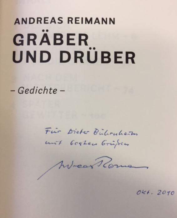 Gräber und drüber. Gedichte 1.  Auflage - Reimann, Andreas.