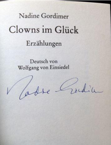 Clowns im Glück. Erzählungen. Ftb  5722 - Signierte Ausgabe - Nadine Gordimer - Gordimer, Nadine.