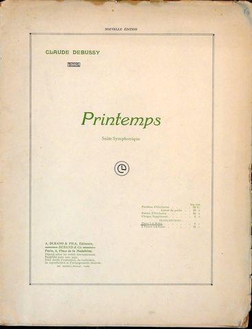 DEBUSSY,  C.: - Printemps. Suite symphonique. Piano à 4 mains. Nouvelle édition