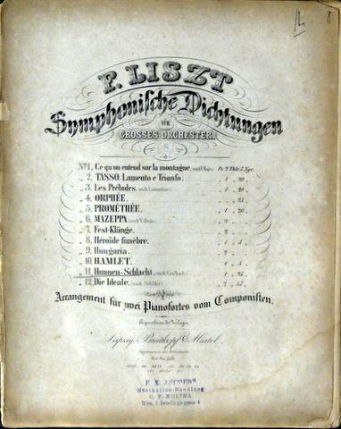 LISZT,  FRANZ: - [R 367] Symphonische Dichtungen für grosses Orchester. No. 9, Hunnen-Schlacht. (nach Kaulbach). Arrangement für zwei Pianofortes vom Componisten