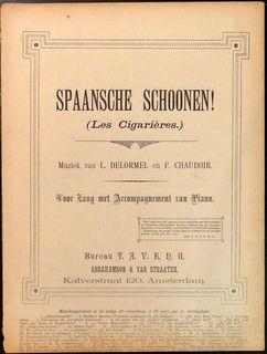 DELORMEL,  L.: - Spaansche schoonen (Les cigarières). Voor zang met accompagnement van piano
