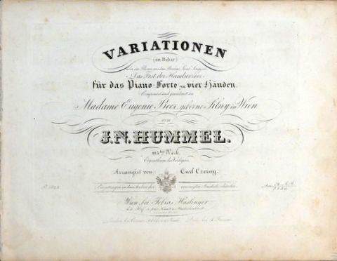 HUMMEL, J.N.: - [Op. 115] Variationen (in B-dur) über ein Thema aus dem Berliner Local-Singspiel
