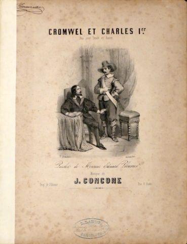 CONCONE,  GIUSEPPE: - Cromwel et Charles 1er. Duo pour tenor et basse. Paroles de Edouard Plouvier