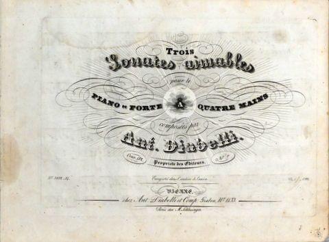 DIABELLI, ANTON: - [Op. 152, Nr. 2] Trois sonates aimables pour le pianoforte à quatre mains. Oeuvre 152. No. 2. Nouvelle édition
