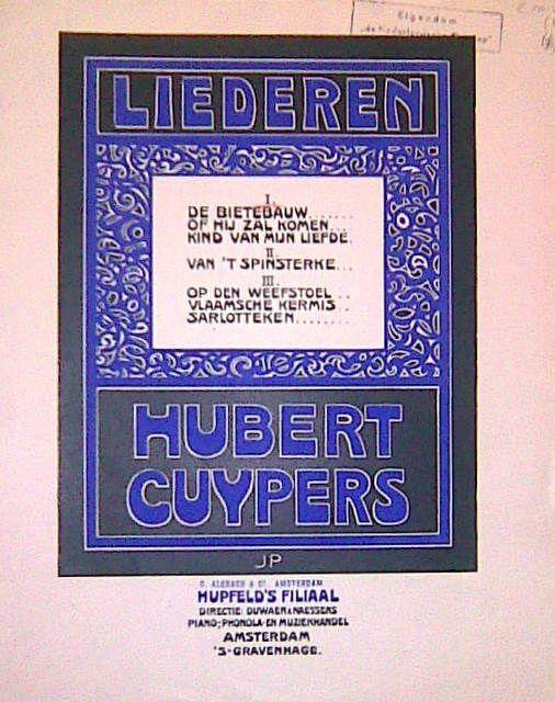 CUYPERS,  HUBERT: - Liederen. II. Van `t spinsterke [tekst René de Clercq, voor zangstem en piano] (Liederen. II)