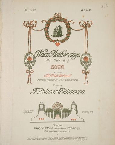 DELMAR-WILLIAMSON,  FREDERICK: - When mother sings (Wenn Mutter singt). Song. Words by A.T.W. MacCaul. No. 1 in Eb