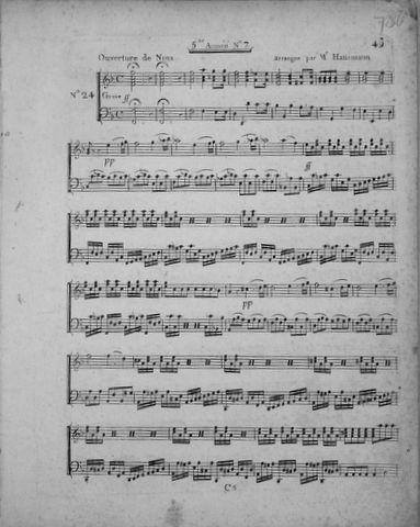 DALAYRAC,  NICOLAS-MARIE: - [Kopftitel:] No. 24. Ouverture de Nina [Dalayrac], arrangée par Mr. Hausmann. No. 25. Romance de Nina No. 26. Choeur des paysans . No. 27. Rondo [pour le clavecin ou piano forte] (5me annee no. 7)
