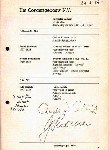 KREMER, GIDON KREMER & ANDRÁS SCHIFF: - [Programm mit eigenh. Unterschriften] Preludium. Concertgebouwnieuws / mei 1986