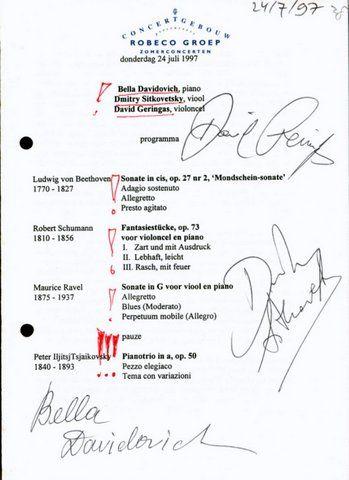 DAVIDOVICH, BELLA, DMITRY SITKOVETSKY, DAVID GERINGAS: - [Programm mit eigenh. Unterschriften] Robeco Groep zomerconcerten. Concertgebouw Amsterdam. Donderdag 24 juli 1997
