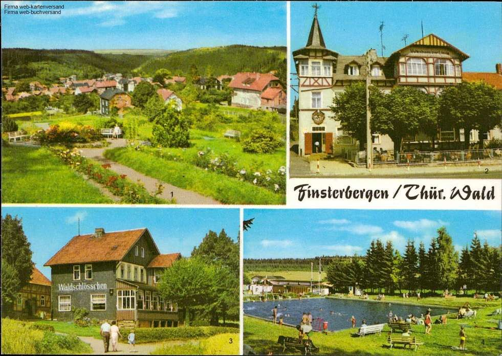 Finsterbergen/Thür. Wald - Teilansicht, Volkshaus zur Linde, Café Waldschlößc...